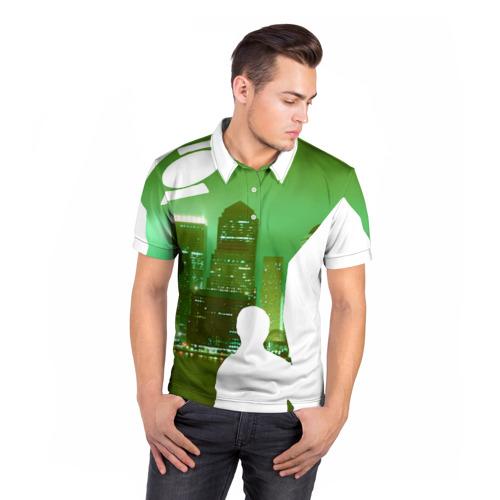 Мужская рубашка поло 3D  Фото 05, зеленый фонарь город