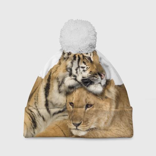 Шапка 3D c помпоном  Фото 01, Тигр и львица
