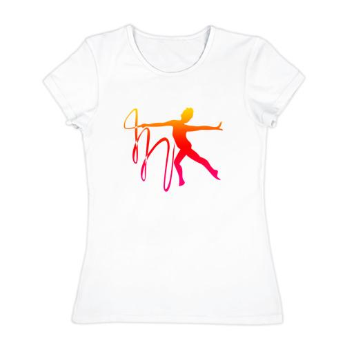 Женская футболка хлопок  Фото 01, Гимнастка с лентой 2