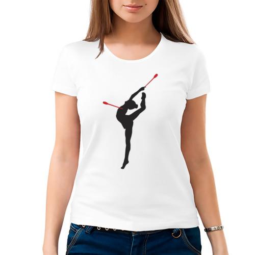 Женская футболка хлопок  Фото 03, Гимнастка с булавами