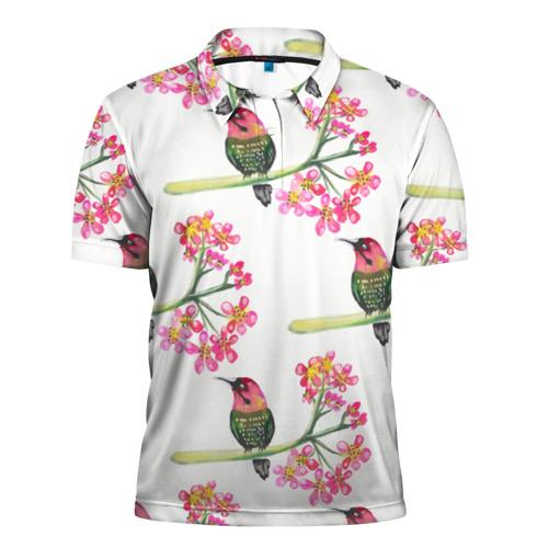 Мужская рубашка поло 3D  Фото 01, Узор из птиц