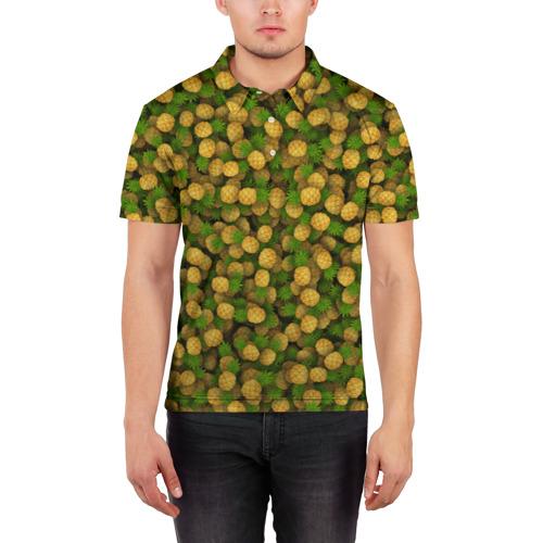 Мужская рубашка поло 3D  Фото 03, Ананасы