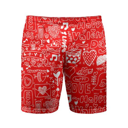 Мужские шорты 3D спортивные Будь моим Валентином!