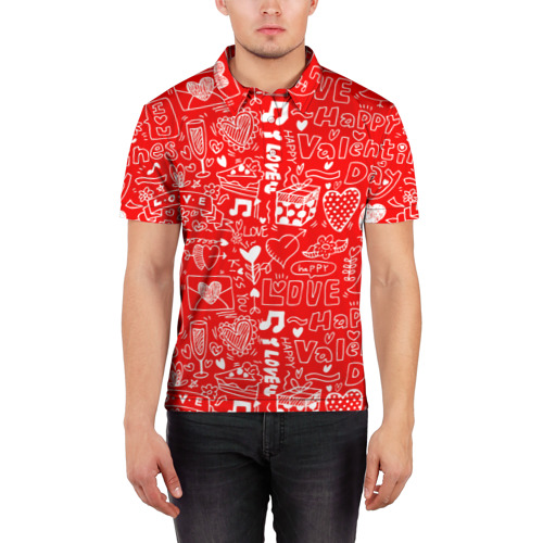 Мужская рубашка поло 3D  Фото 03, Будь моим Валентином!