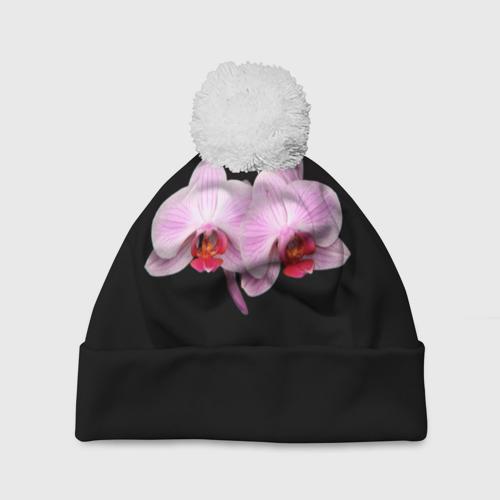 Шапка 3D c помпоном  Фото 01, Орхидея