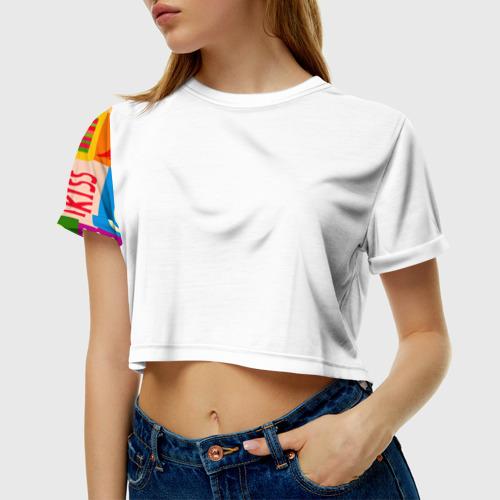 Женская футболка 3D укороченная  Фото 01, Праздник любви 2
