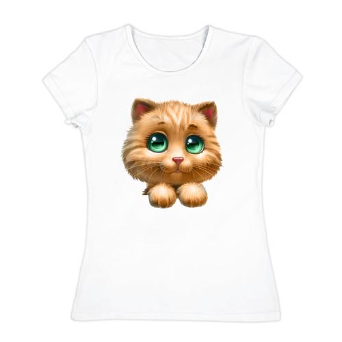 Женская футболка хлопок  Фото 01, Котенок