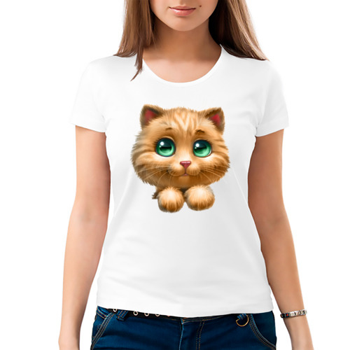 Женская футболка хлопок  Фото 03, Котенок