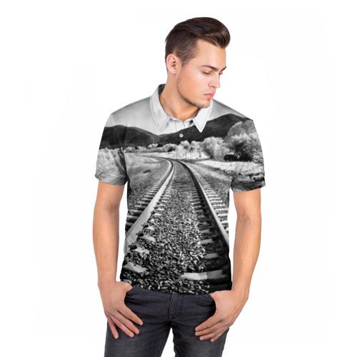 Мужская рубашка поло 3D  Фото 05, Железная дорога