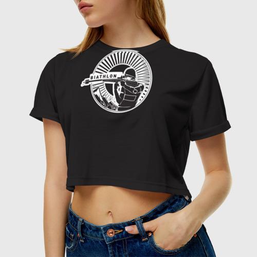 Женская футболка 3D укороченная  Фото 01, Биотлонист