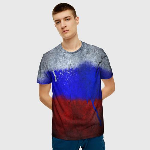 Мужская футболка 3D Триколор (Краской на земле) Фото 01