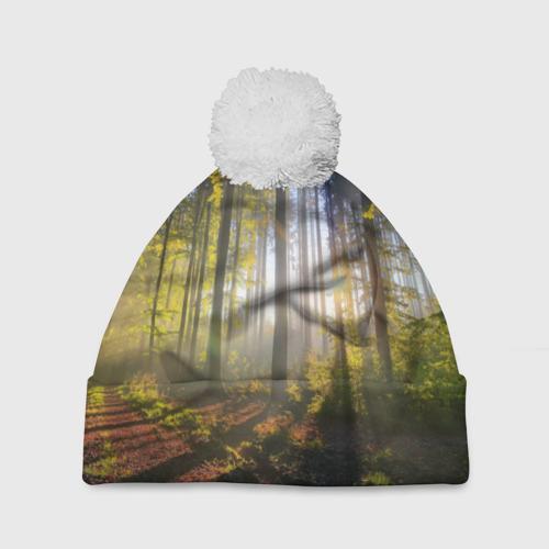 Шапка 3D c помпоном  Фото 01, Утро в лесу