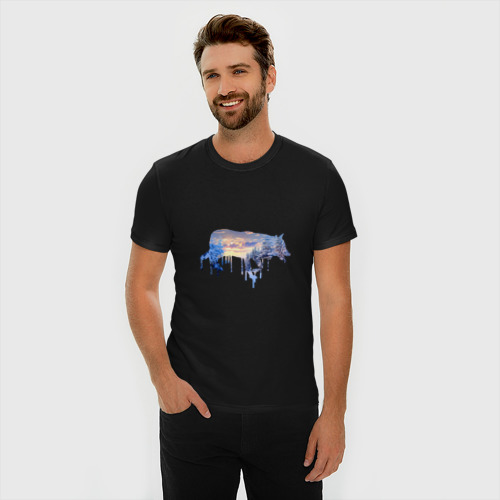 Мужская футболка премиум волк зима Фото 01
