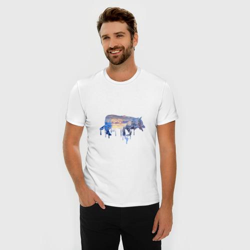 Мужская футболка премиум  Фото 03, волк зима