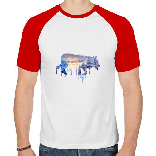 Мужская футболка реглан  Фото 01, волк зима