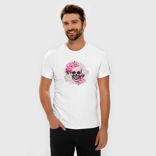 Мужская футболка премиум  Фото 03, Череп с цветами