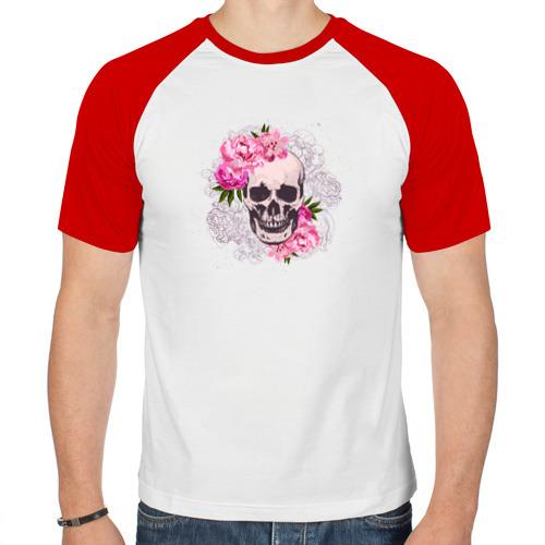 Мужская футболка реглан  Фото 01, Череп с цветами