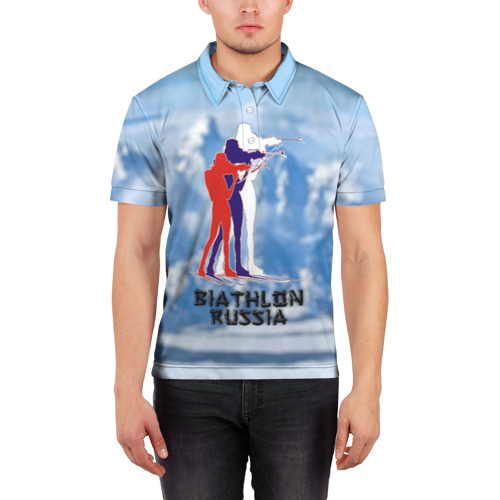 Мужская рубашка поло 3D  Фото 03, Biathlon russia