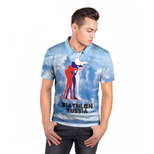 Мужская рубашка поло 3D  Фото 05, Biathlon russia