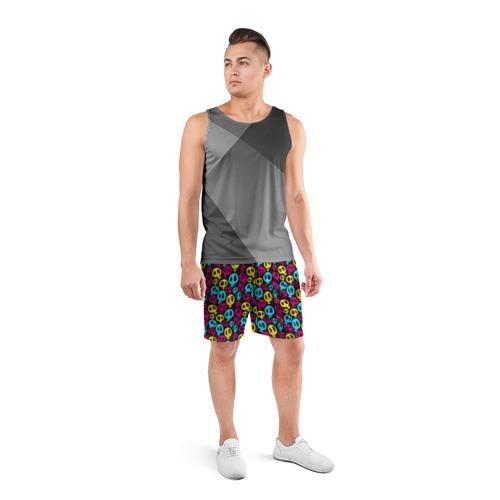 Мужские шорты 3D спортивные  Фото 04, Цветные черепушки