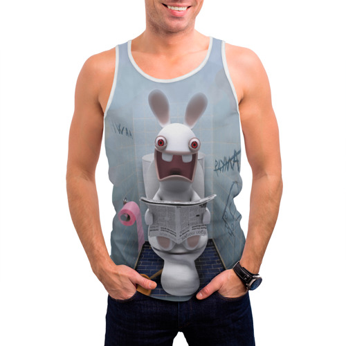 Мужская майка 3D  Фото 03, Кролик с газетой