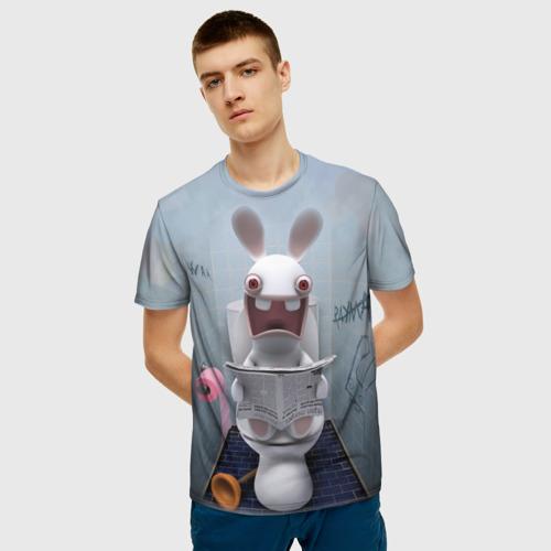 Мужская футболка 3D Кролик с газетой Фото 01