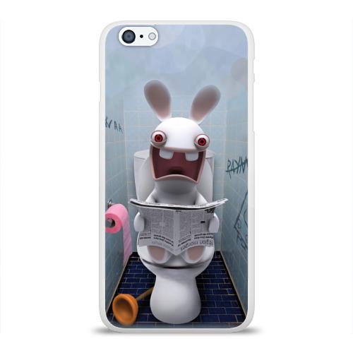 Чехол для Apple iPhone 6Plus/6SPlus силиконовый глянцевый Кролик с газетой Фото 01