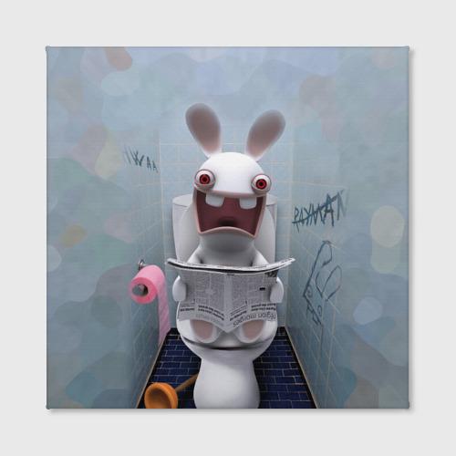 Холст квадратный Кролик с газетой Фото 01