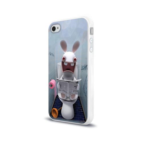 Чехол для Apple iPhone 4/4S силиконовый глянцевый Кролик с газетой Фото 01