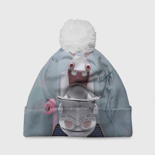 Шапка 3D c помпоном  Фото 01, Кролик с газетой