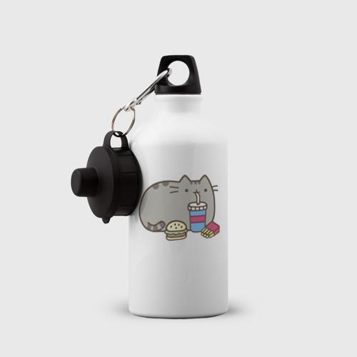 Бутылка спортивная Котик с бургером и фри Фото 01