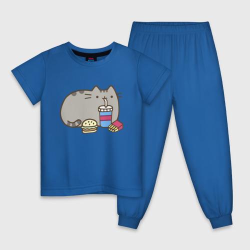 Детская пижама хлопок Котик с бургером и фри Фото 01
