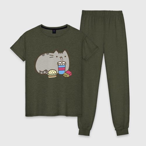 Женская пижама хлопок Котик с бургером и фри Фото 01