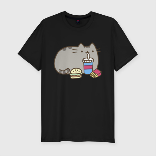 Мужская футболка хлопок Slim Котик с бургером и фри Фото 01