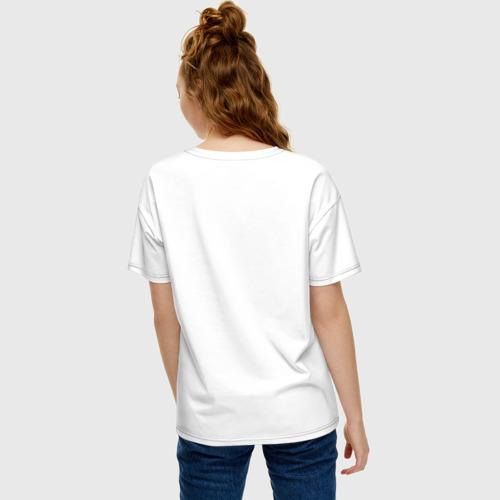 Женская футболка хлопок Oversize Котик с бургером и фри Фото 01