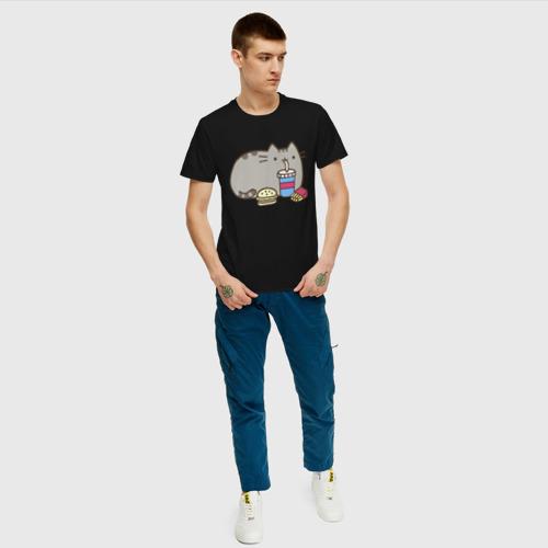 Мужская футболка хлопок Котик с бургером и фри Фото 01
