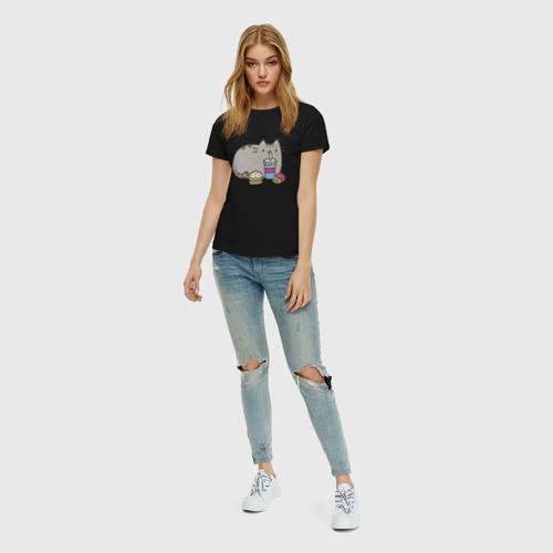 Женская футболка хлопок Котик с бургером и фри Фото 01