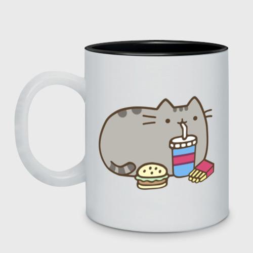 Кружка двухцветная Котик с бургером и фри Фото 01