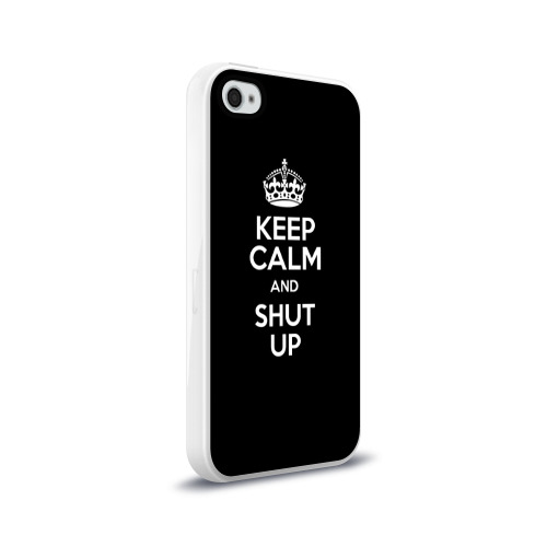 Чехол для Apple iPhone 4/4S силиконовый глянцевый  Фото 02, Keep calm and shut up