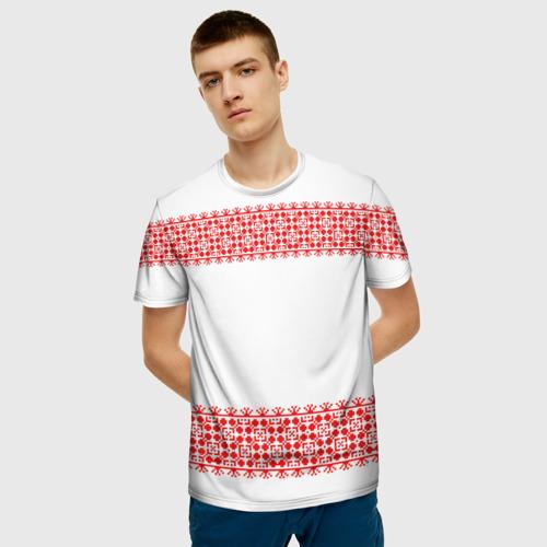 Мужская футболка 3D Славянский орнамент (на белом) Фото 01