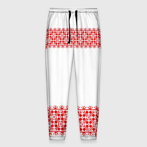 Мужские брюки 3D Славянский орнамент (на белом) Фото 01