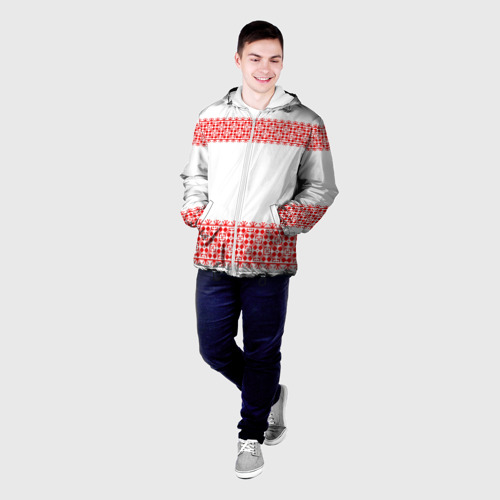 Мужская куртка 3D Славянский орнамент (на белом) Фото 01
