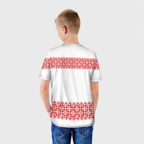 Детская футболка 3D  Фото 02, Славянский орнамент (на белом)