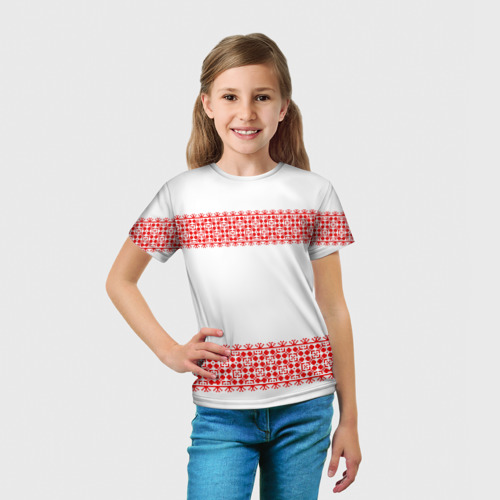 Детская футболка 3D  Фото 03, Славянский орнамент (на белом)