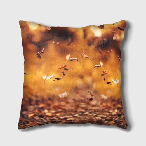 Подушка 3D Котик в листьях Фото 01