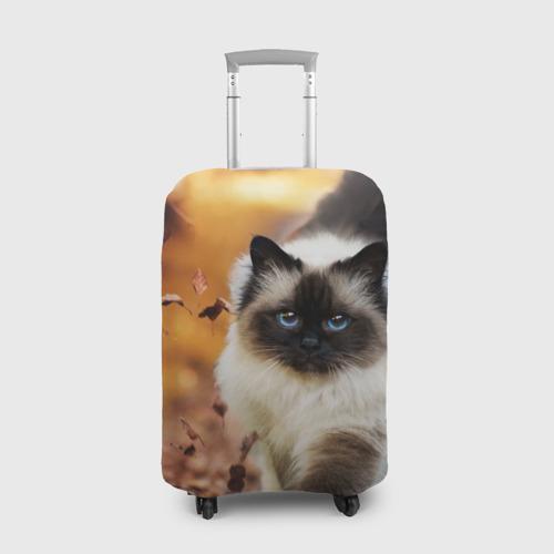 Чехол для чемодана 3D Котик в листьях Фото 01