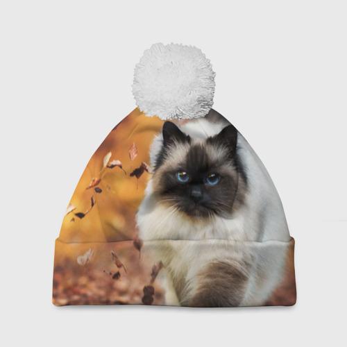 Шапка 3D c помпоном  Фото 01, Котик в листьях