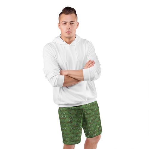 Мужские шорты 3D спортивные Грустные лягушки Фото 01