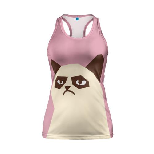 Женская майка 3D спортивная  Фото 01, Grumpy cat pink
