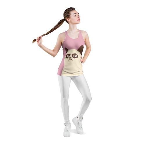Женская майка 3D спортивная  Фото 05, Grumpy cat pink